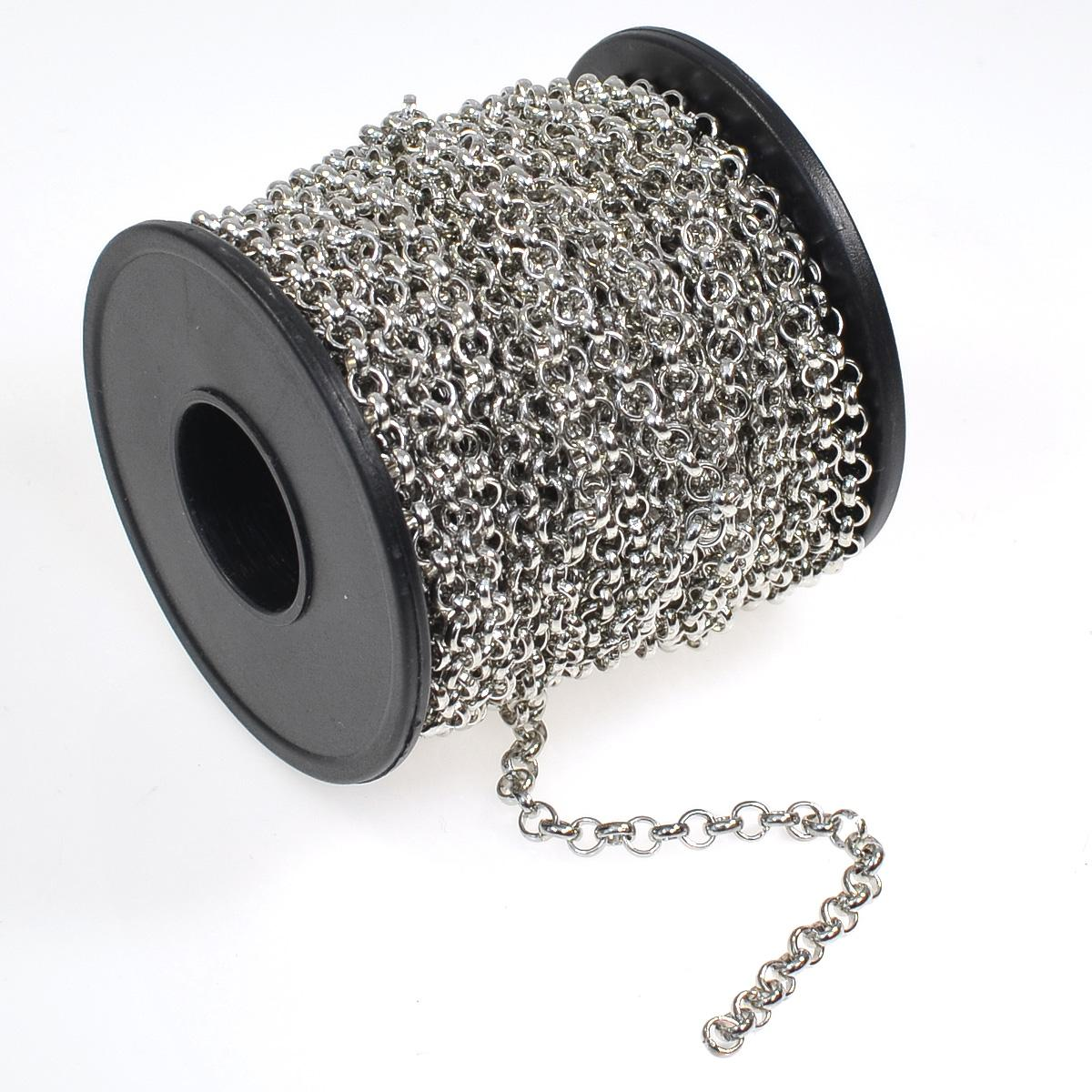 white plated rolo chain spool