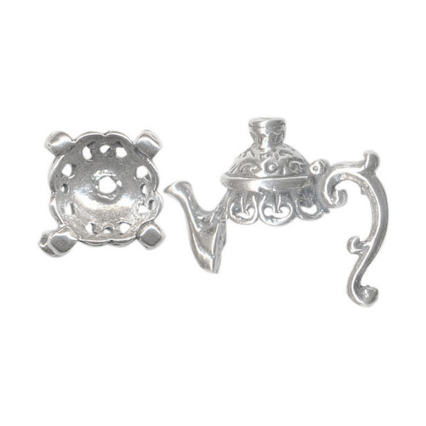 Sterling Silver Bead Caps, Teapot Parts, 8mm