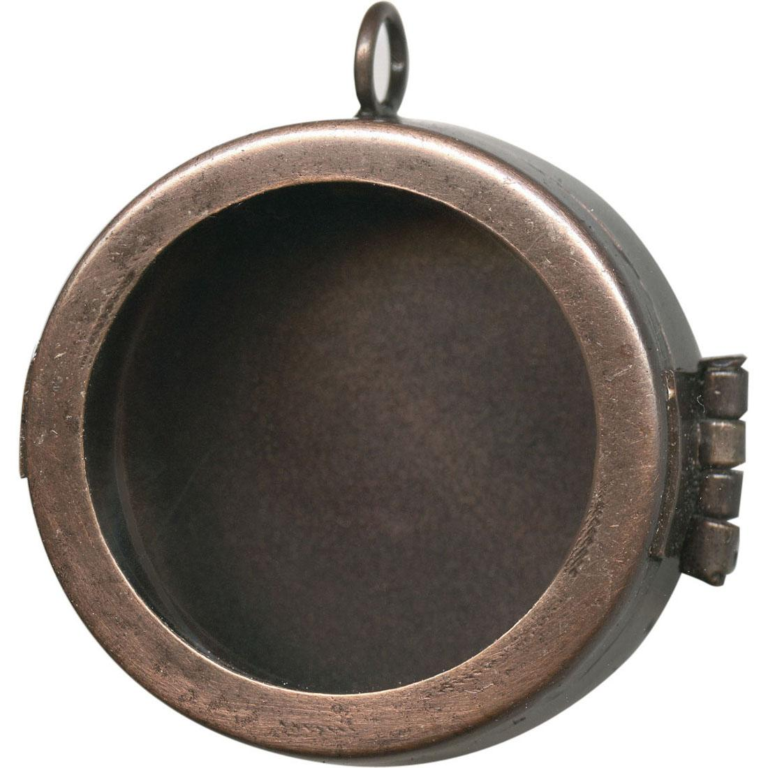 Antiqued copper plated shadow box pendant frame hinged round 1 12 mozeypictures Images