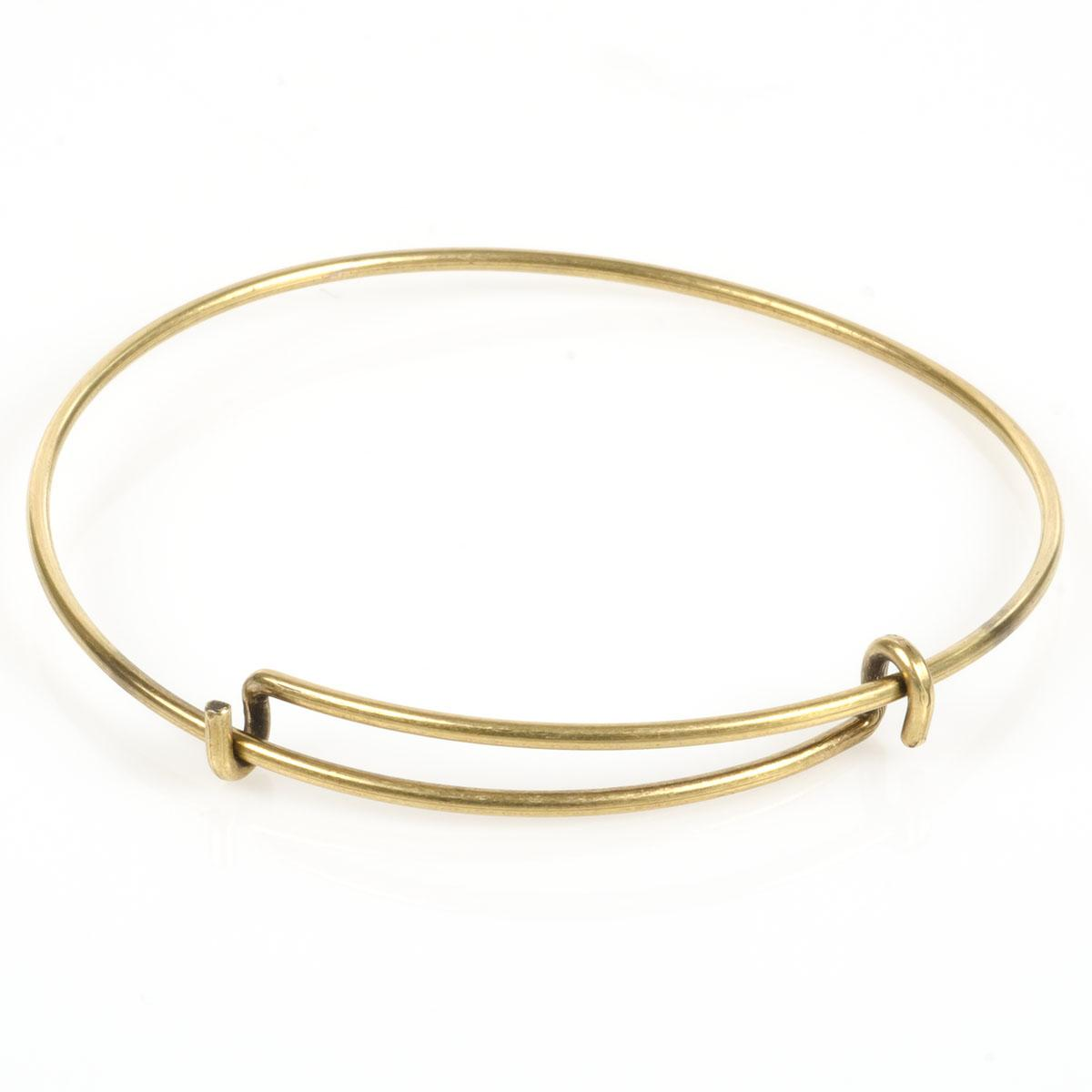 Steel Wire Adjustable Bracelet with Double Loop - White Plated