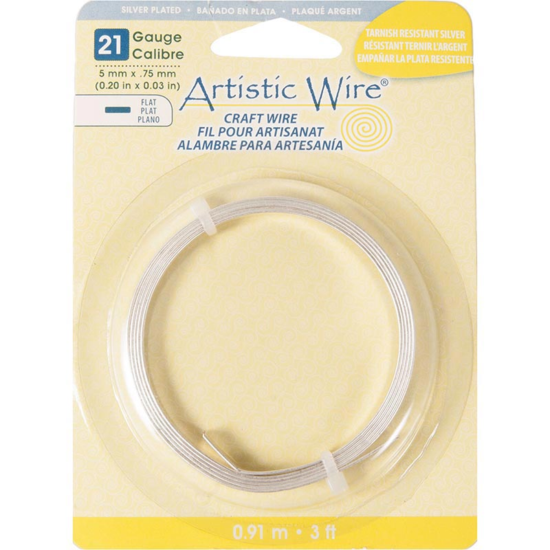 Artistic Wire Silver Plated Copper Flat Jewelry Wire, 21ga, 5mm, 3ft ...